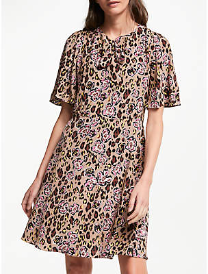 Somerset by Alice Temperley Leopard Floral Tie Neck Dress, Black/Multi