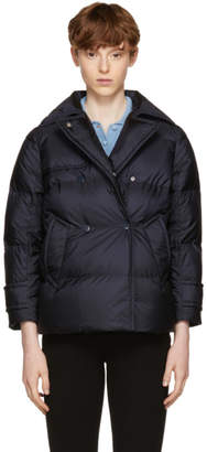 Prada Navy Down Double-Breasted Puffer Jacket