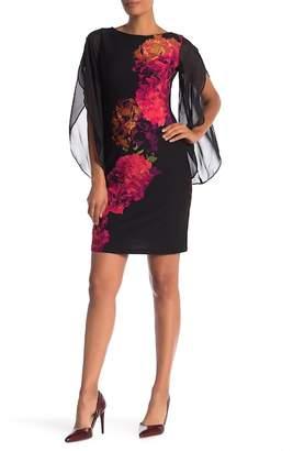 Donna Ricco Chiffon Sleeve Floral Scuba Dress