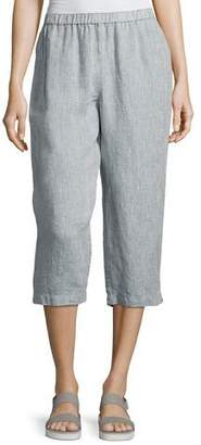 Eileen Fisher Yarn Dyed Handkerchief Linen Cropped Pants, Medium Blue $178 thestylecure.com