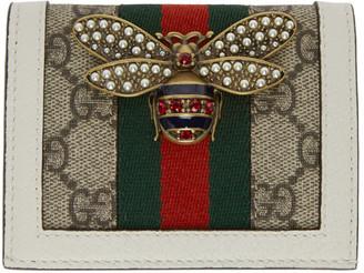 Gucci White and Beige GG Supreme Queen Margaret Bifold Wallet