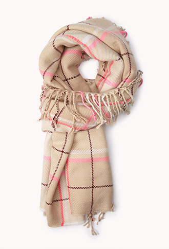 Forever 21 Cozy Plaid Fringed Scarf