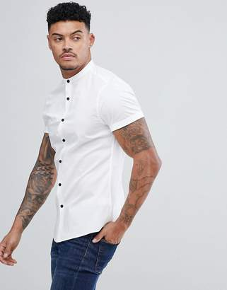 Asos Design DESIGN slim shirt with grandad collar in white with contrast buttons
