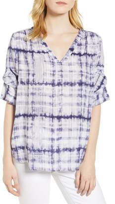 Chaus Shibori Plaid Gathered Sleeve Top
