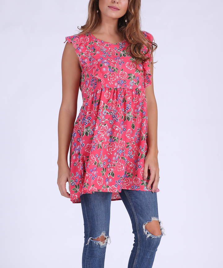 Red Floral Empire-Waist Tunic - Women & Plus