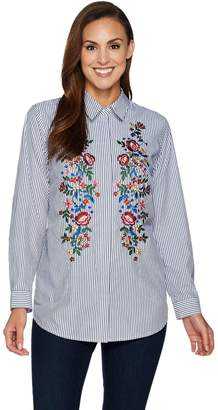 Joan Rivers Classics Collection Joan Rivers Striped Shirt With Floral Embroidery