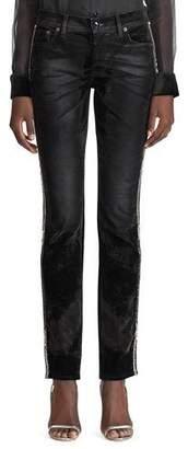 Ralph Lauren Crystal-Striped Worn Velvet Jeans
