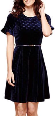 Yumi Polka Dot Velvet Dress, Petrol Blue
