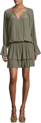 Ramy Brook Olivia Bell-Sleeve Blouson Mini Dress, Sage $395 thestylecure.com