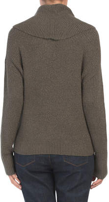 Juniors Turtleneck Sweater With Button Detail