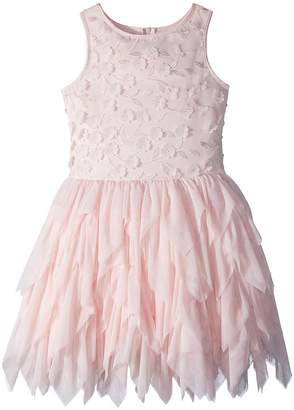 Nanette Lepore Kids Embroidered Tulle Dress w/ Matte Satin Girl's Dress