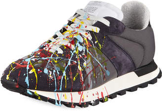 Maison Margiela Men's Replica Paint-Splatter Suede-Trim Running Sneakers