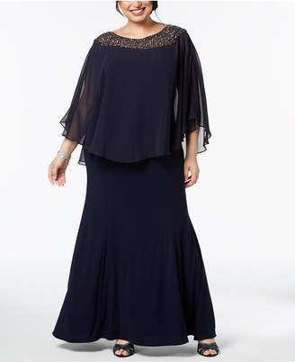 Xscape Evenings Plus Size Embellished Caped-Overlay Gown