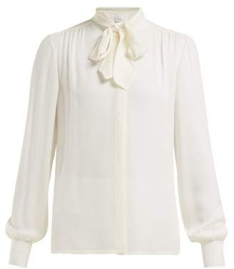 Giambattista Valli Neck Tie Silk Crepe De Chine Blouse - Womens - Ivory