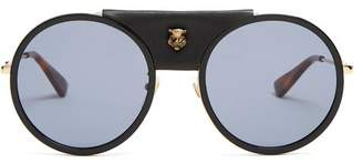 Gucci Round Frame Leather Trimmed Metal Sunglasses - Mens - Black