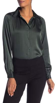 Insight Satin Button Front Blouse