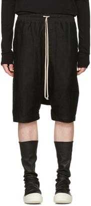 Rick Owens Black Mesh Ricks Pods Shorts $790 thestylecure.com