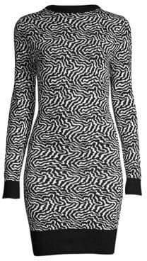 Victor Glemaud Victor Glemaud Women's Backless Zebra Sweater Dress - Black White - Size XS