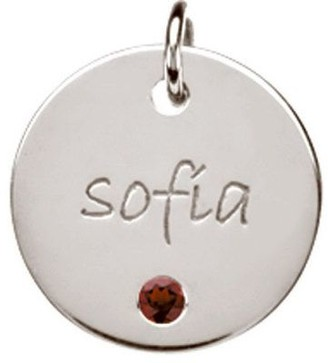 Posh Mommy Sterling Large Disc w/ Simulated Birthstone Pendan