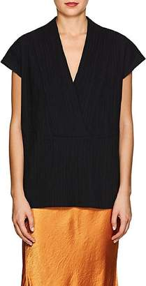 Zero Maria Cornejo Women's Leah Cotton-Blend V-Neck Top - Black