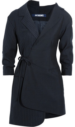Jacquemus - Wrap-effect Pinstriped Wool-piqué Mini Dress - Midnight blue $720 thestylecure.com