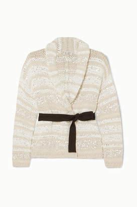 Brunello Cucinelli Sequin-embellished Striped Cotton-blend Cardigan - Cream