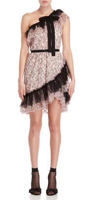 Philosophy di Lorenzo Serafini One-Shoulder Floral Lace Dress