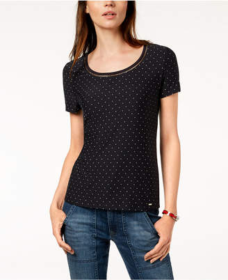 Tommy Hilfiger Printed Ladder-Trim T-Shirt, Created for Macy's