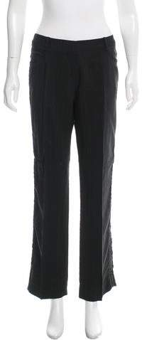 Christian Dior Leather-Trimmed Straight-Leg Pants