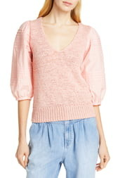 Rebecca Taylor Mix Media Cotton Sleeve Sweater