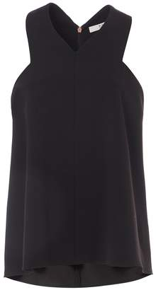 Tibi Structured Crepe V-Neck Sleeveless Top