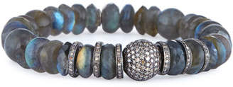 Sheryl Lowe Labradorite Mixed-Bead Bracelet w/ Diamond Ball