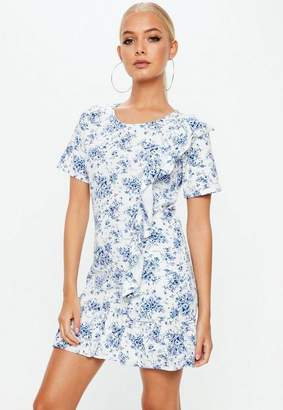Missguided White Frill Detail Floral Dress