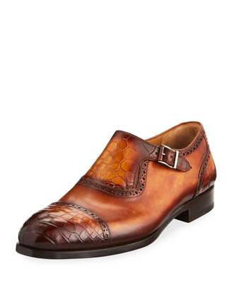 Magnanni Men's Madrid Leather & Alligator Monk Shoes