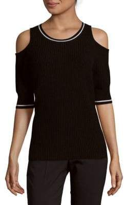 Mayer Rib-Knit Cold-Shoulder Pullover