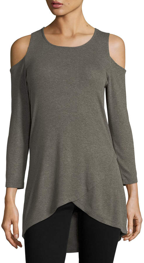 Neiman Marcus Cold-Shoulder Asymmetric-Hem Tee