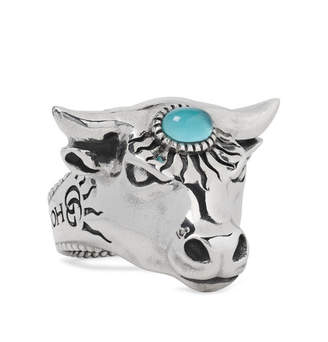 Gucci Bull's Head Sterling Silver And Glass Ring