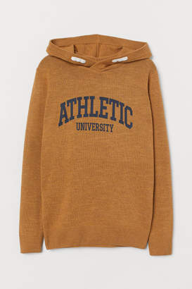 H&M Fine-knit Hooded Sweater - Yellow