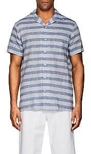 Onia Men's Vacation Striped Linen-Cotton Short-Sleeve Shirt-Blue