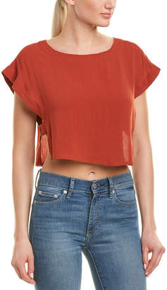 Very J Cutout Sides Linen-Blend Blouse