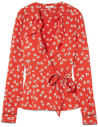 Ganni Ruffled Floral-print Crepe De Chine Wrap Top - Red