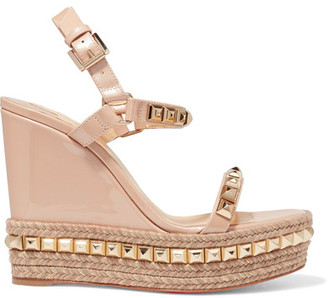 Christian Louboutin - Cataclou 120 Studded Patent-leather Wedge Sandals - Beige $795 thestylecure.com