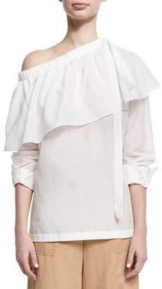 Robert Rodriguez Cotton-Silk One-Shoulder Ruffle Top, White