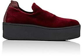 Barneys New York WOMEN'S VELVET PLATFORM SLIP-ON SNEAKERS