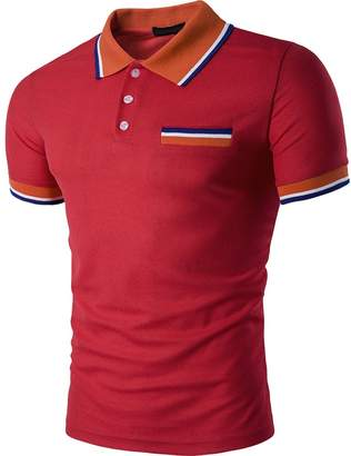 Cottory Men's Color Stripe Collar Short Sleeve Pocket Polo T Shirt