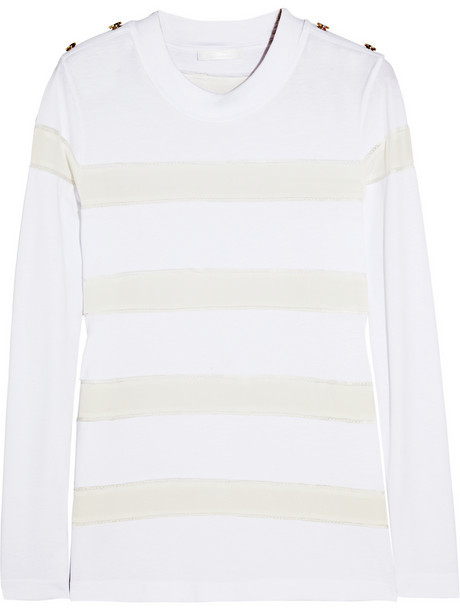 Chloé Paneled cotton and silk top
