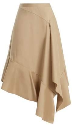 Palmer Harding Palmer//Harding Palmer//harding - Asymmetric Fluted Hem Cotton Twill Midi Skirt - Womens - Beige