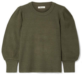 Madewell Lemon Ribbed-knit Sweater - Army green