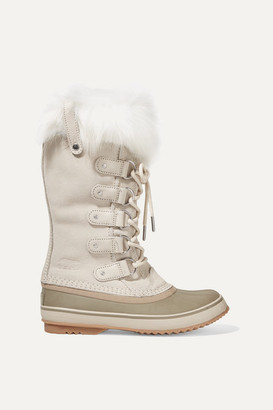 Sorel Joan Of Arctic Faux Fur-trimmed Waterproof Suede And Rubber Boots - Cream