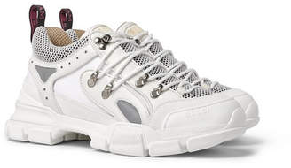 Gucci Flashtrek Rubber, Leather, Mesh and Suede Sneakers - Men - White